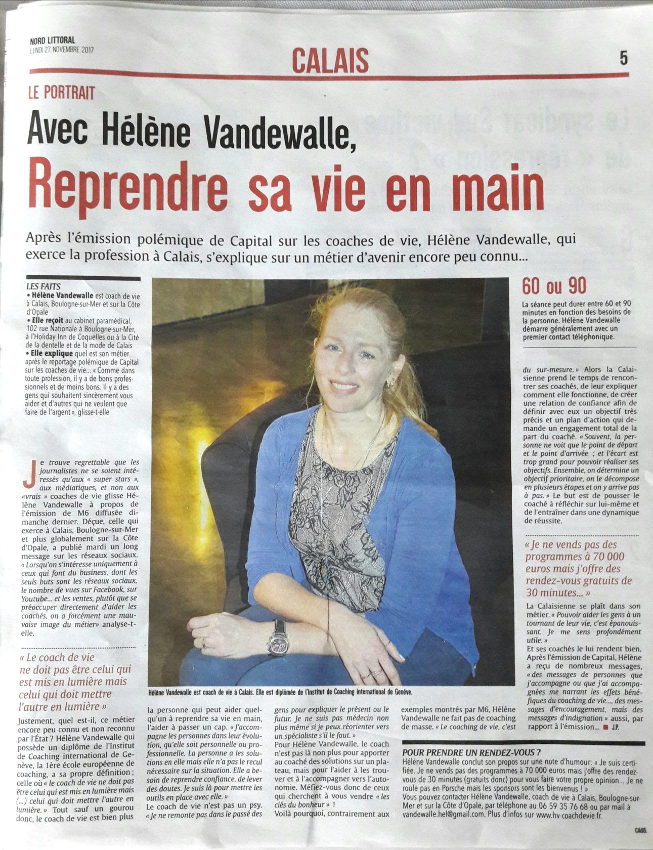 Hélène Vandewalle, Coach de Vie certifiée, article de presse de Nord Littoral Calais, novembre 2017