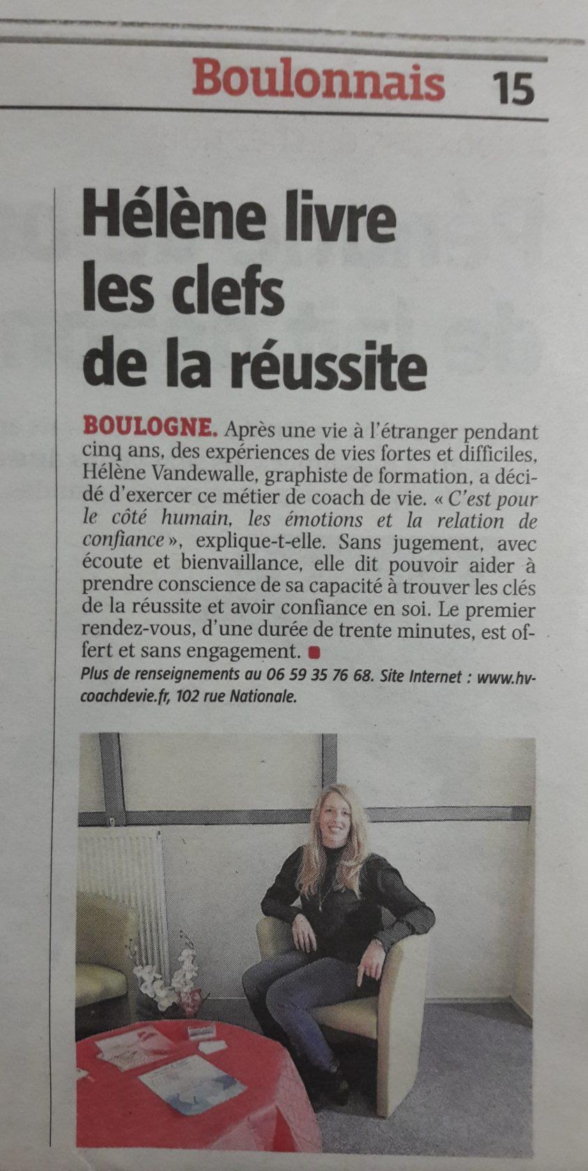 Hélène Vandewalle, coach de vie, article presse de Voix du Nord Boulogne-sur-Mer