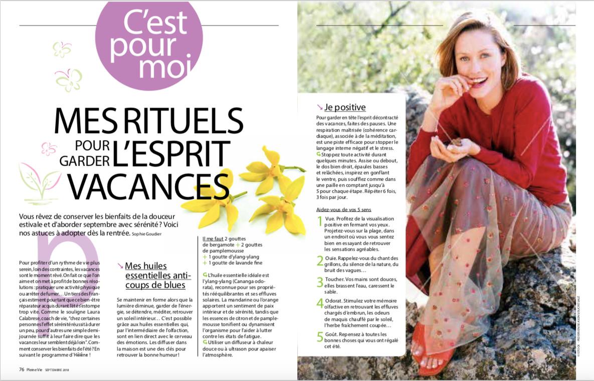 Hélène Vandewalle, Coach de Vie certifiée, article de presse du magazine Pleine Vie page 1