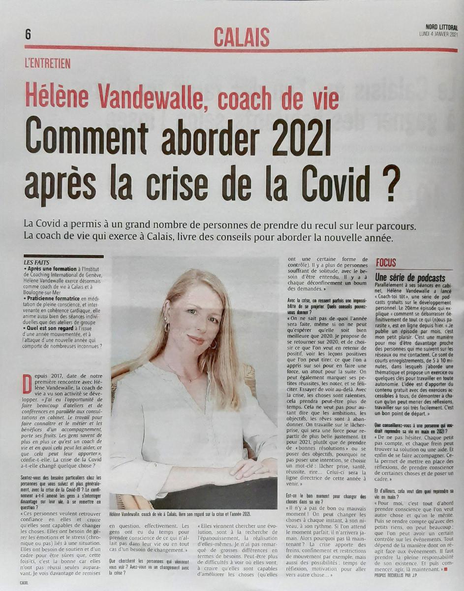 Hélène Vandewalle, Coach de Vie certifiée, article de presse de Nord Littoral Calais, Janvier 2021