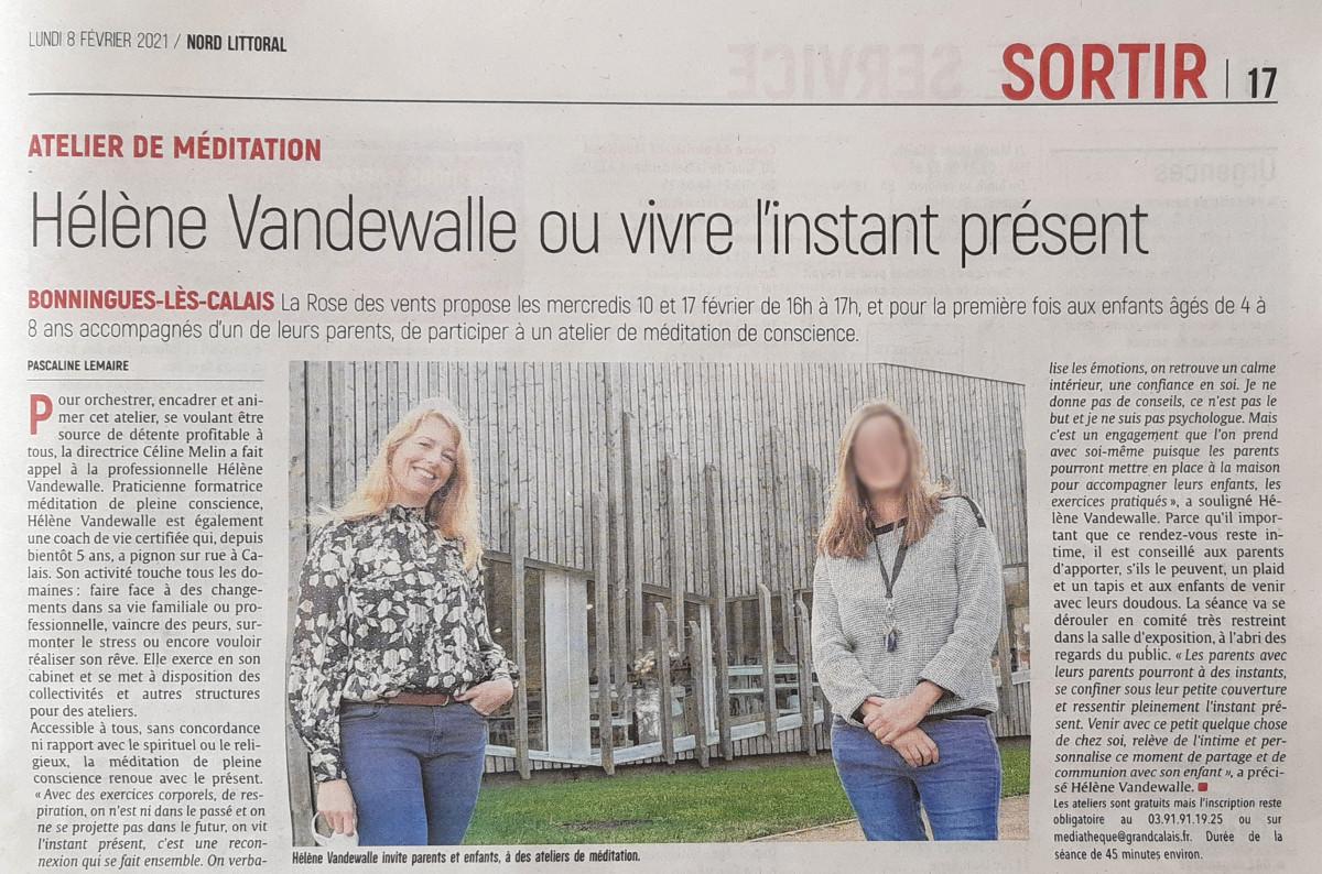 Hélène Vandewalle, Coach de Vie certifiée, article de presse de Nord Littoral Calais, février 2021